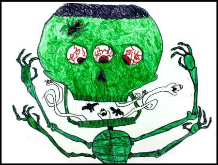 This spooky student drawing is AWESOME! I smile every time I look at it.